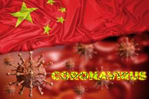 Coronavirus and flag of china, country where an outbreak started in Wuhan city