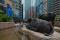 Central, Hong Kong 16 July 2019:Two buffalo statues, Exchange Square at Hong Kong Island