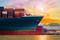 Container ship in import,export port at the harbor