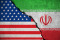 iranian flag on broken wall and half usa united states of america flag