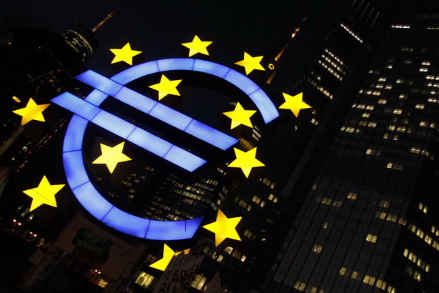 A sculpCentral Banks Take Center Stageture showing the Euro currency sign is seen in front of the European Central Bank (ECB) headquarters in Frankfurt