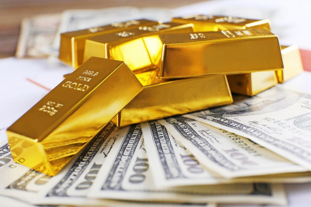 Gold Bars and Dollar