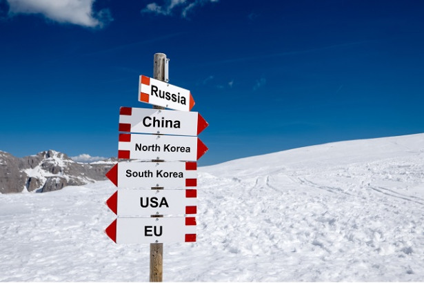 North Korea, South Korea, USA, EU, China and Russia. Cold relations and policy concept
