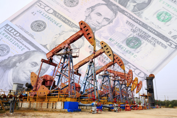 Dollars and oil pumps