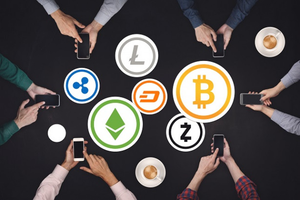 Teamwork concept. Six creative people working cryptocurrency Icon Concept Top view on black background. Bitcoin, Ethereum, Ripple, Dash, Litecoin, Zcash