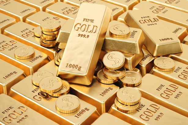 gold bars and gold coins.