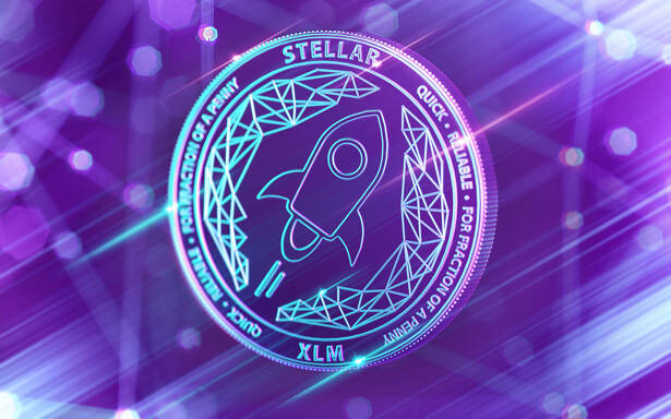Neon glowing Stellar Lumens (XLM) coin in Ultra Violet colors with cryptocurrency blockchain nodes in blurry background. 3D rendering
