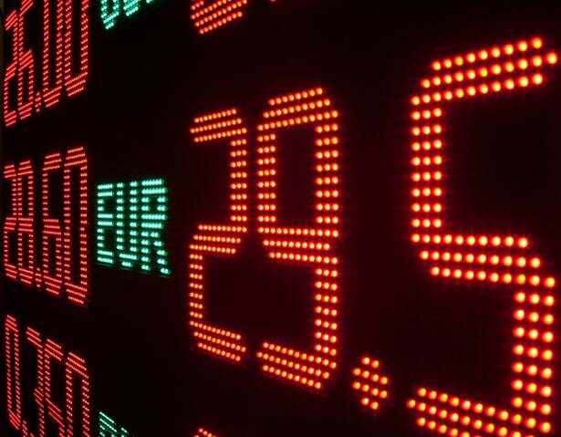 Board with currency exchange rates