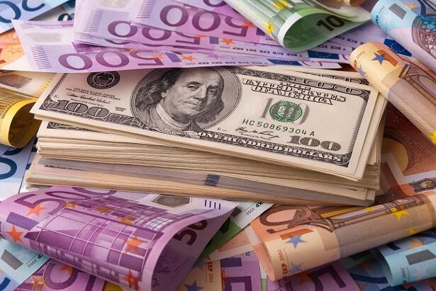 Paper money euro dollar banknotes