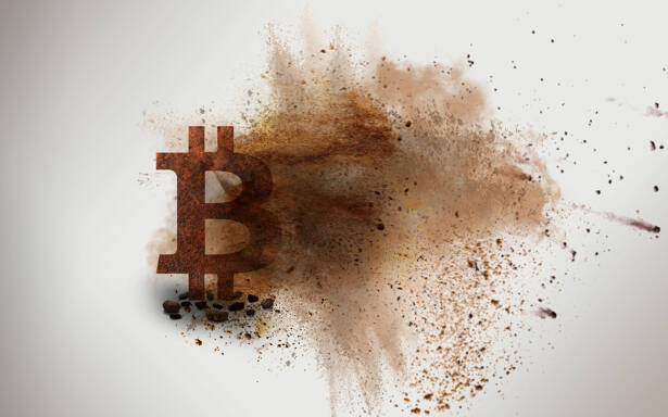 Rusty Bitcoin Sign is Demolishing and Collapsing