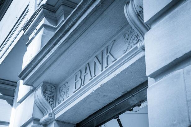 Bank Sign logo entrance, Stone Background