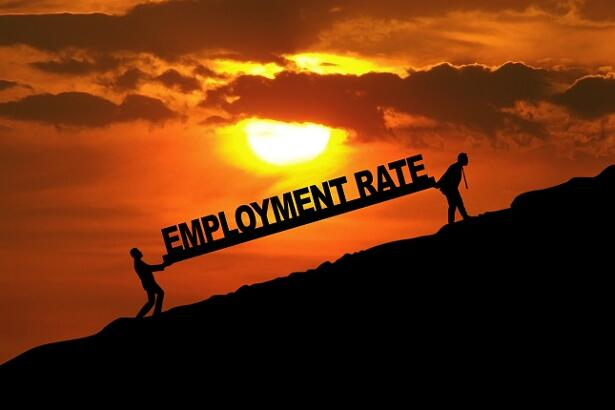 Two workers with employment rate text
