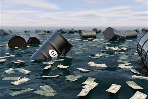 Oil barrel in water. price oil down.