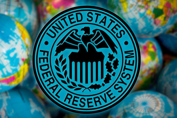 United States Federal Reserve System symbol (FED) on globe background,