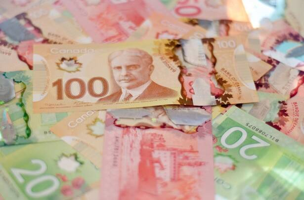 Pile of colorful Canadian money