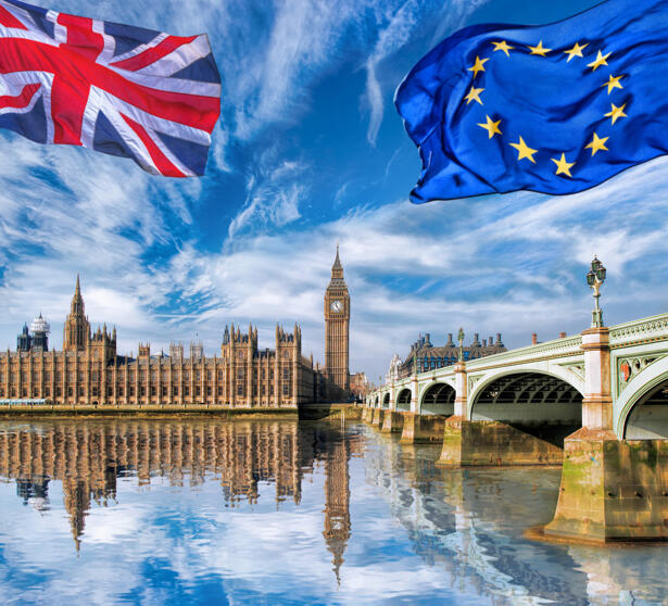 European Union and British Union flag flying against Big Ben in London, England, UK, Stay or leave, Brexit