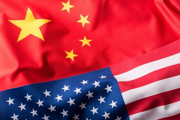 USA and China. Usa flag and china flag