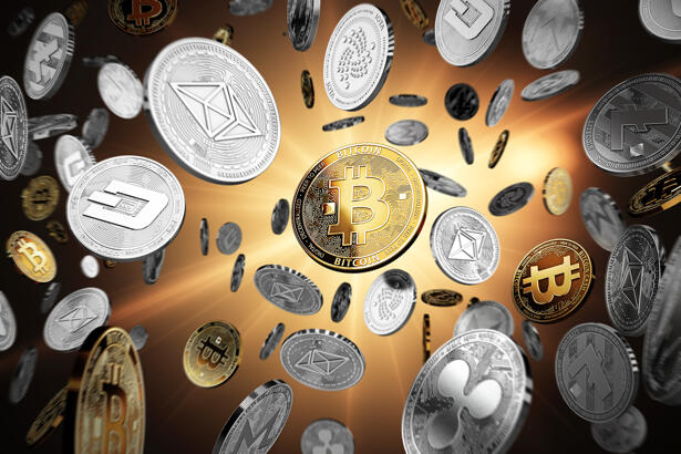 Flying altcoins with Bitcoin in the center as the leader. Bitcoi