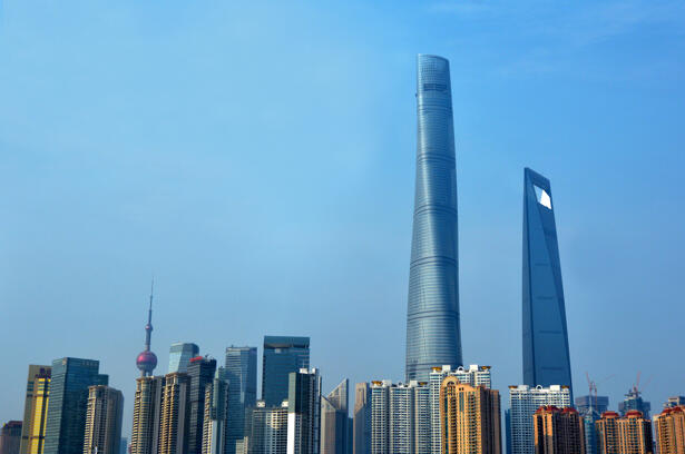 Pudong New Area skyline in Shanghai, China.