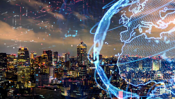 Smart city and global network concept. IoT(Internet of Things). ICT(Information Communication Technology).