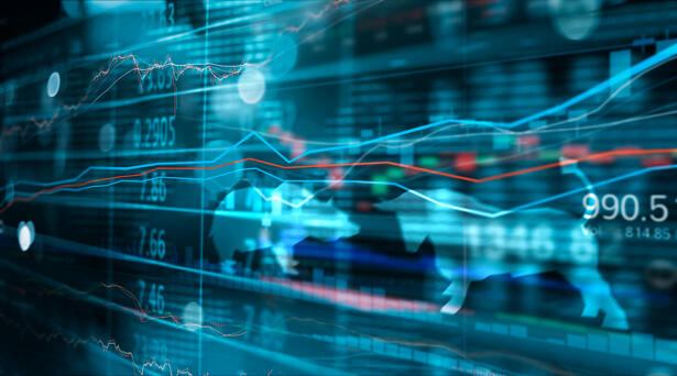 Financial stock market numbers and forex trading graph, business and stock market data, financial investment concept on bull and bear shapes symbols background.