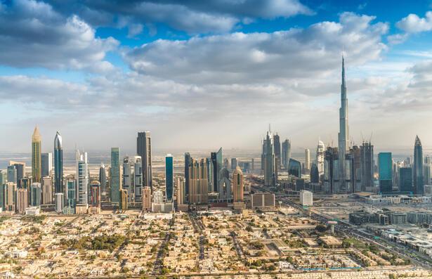 Downtown Dubai skyline aerial view, UAE