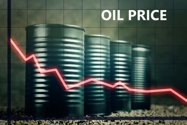 Few barrels of oil and a red graph down - decline in oil prices concept