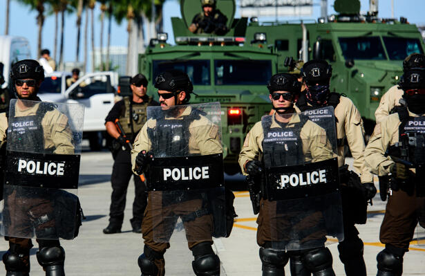 Miami Downtown, FL, USA - MAY 31, 2020: Police and military in Miami during a protest against violence and racism.