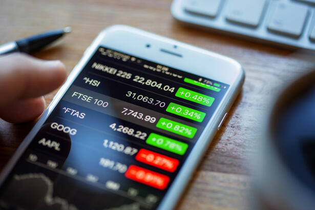 Shares App Displaying Stock Prices on an Apple iPhone 6