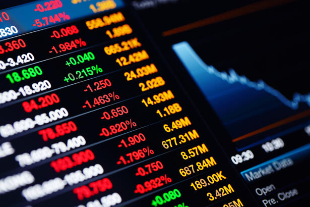 Stock market data on screen