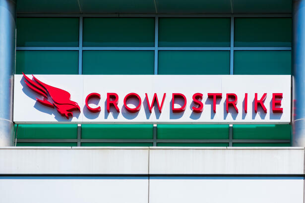 CrowdStrike sign and logo at headquarters in Silicon Valley. CrowdStrike Holdings, Inc. is a public cybersecurity technology company