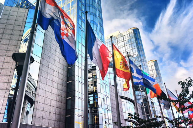 Flags in front of European Parliament building. Brussels, Belgiu