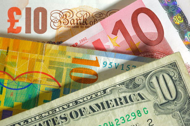 Dollar, franc, euro, pound currency from usa, Europe, swiss, england