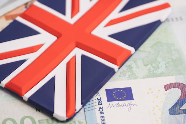 Europe, Brexit or Britain economy or financial concept, Closed u