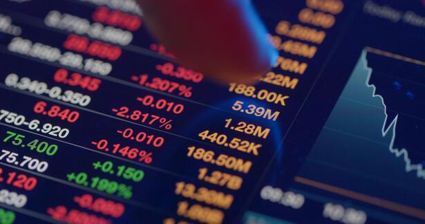 Stock market analysis on digital tablet computer