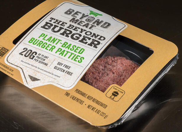 Beyond Meat plant based burger package of two patties