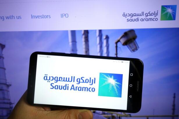 Saudi Aramco logo displayed on mobile phone