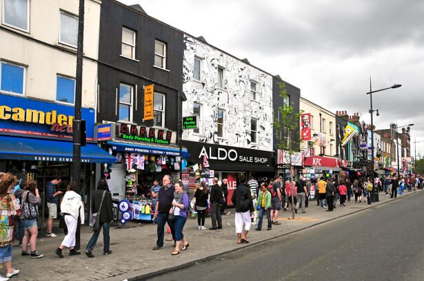 Camden Street in London. Camden Market and streets nearby are the fourth-most popular visitor attraction in London, attracting approximately 100,000 people each weekend