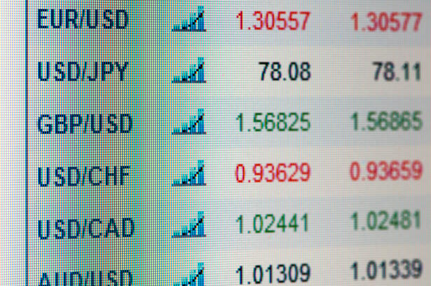 Indices of currencies on display