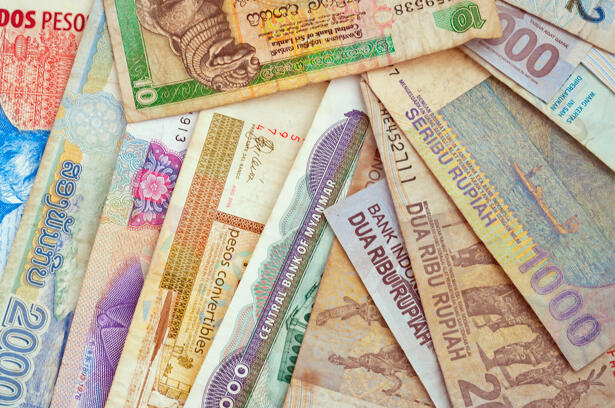 Background of different currencies