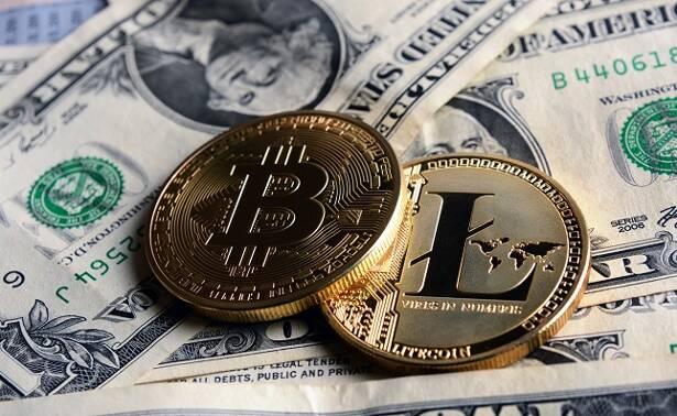 Bitcoin and Litecoin over dollar banknotes.