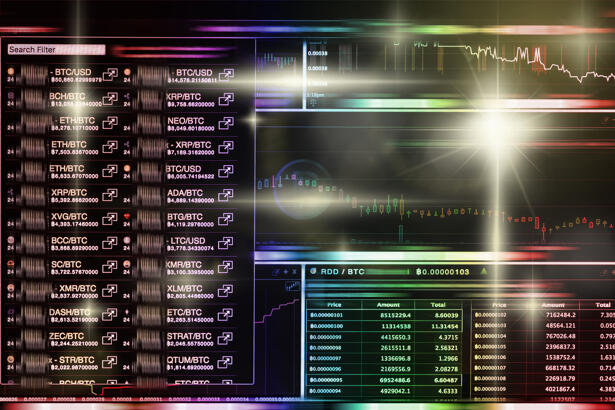 Cryptocurrency trading screen, Bitcoin exchange screen of tradin