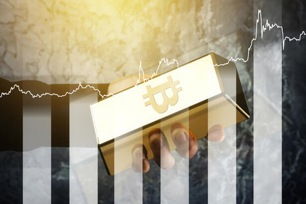 Gold bullion with symbol of Bitcoin and growth chart