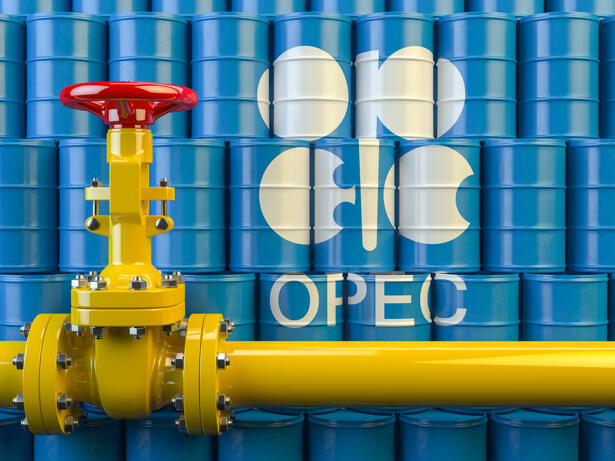 Oil pipe line valve in front of the barrels with OPEC siymbol.