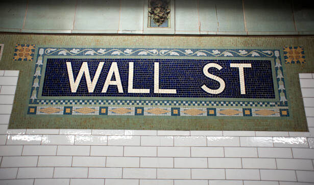 Wall street subway sign tile pattern in New York City Manhattan