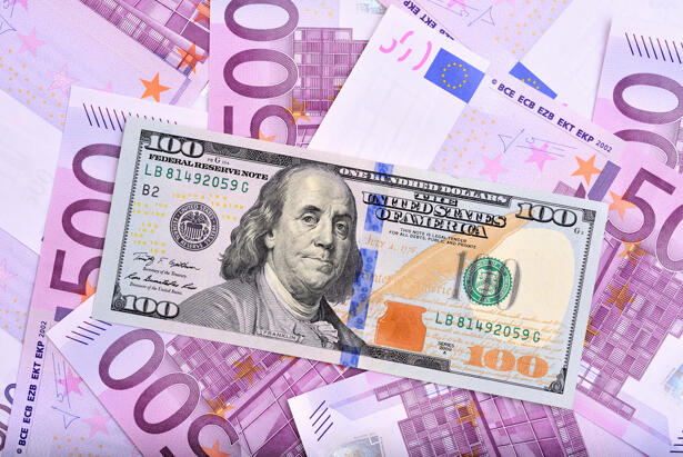 Dollar and euro bank notes on the table