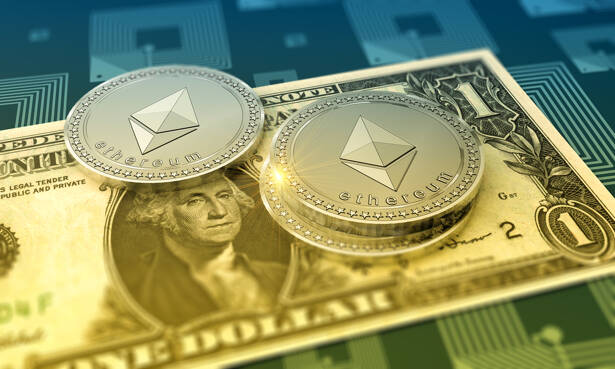 Cryptocurrency Ethereum with One Dollar Bill as financial concept.