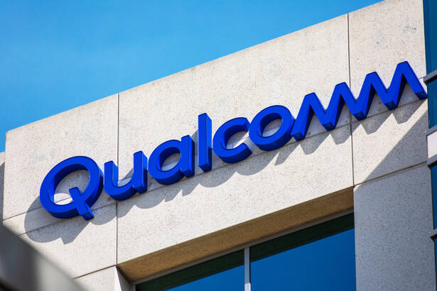 Close up. Qualcomm logo atop company office. Qualcomm Incorporated is an American multinational semiconductor and telecommunications equipment company