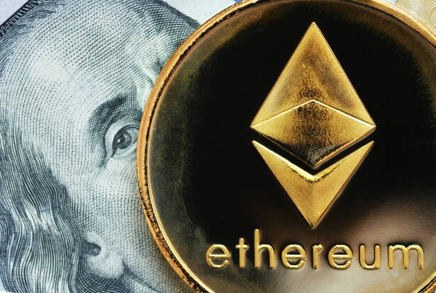 Ethereum. Crypto currency Ethereum, ETH. Ethereum golden coin on dollar banknote. Blockchain technology, mining concept