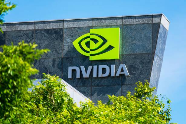 Nvidia logo and sign on headquarters
